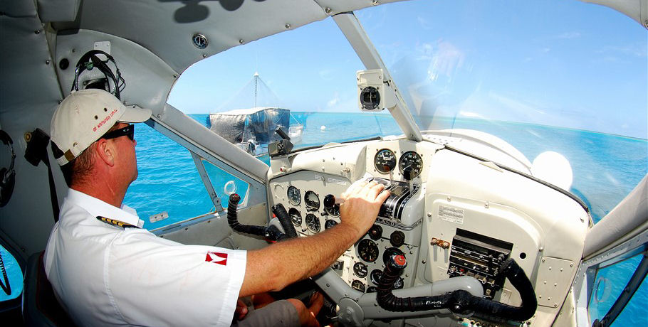 Seaplane Pilot navigating over the Whitsunday Islands