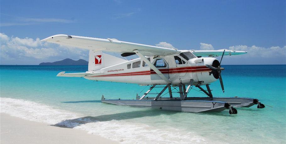 Seaplane at Whitehaven Beach Whitsundays