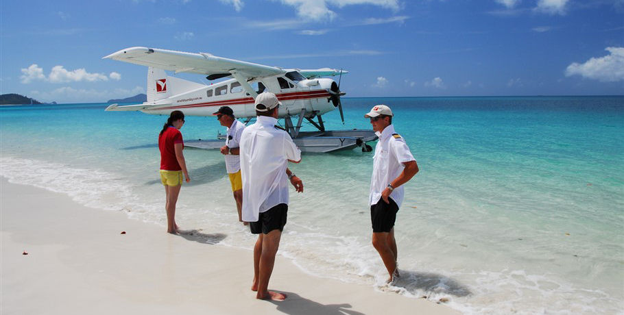 Guests at Whitehaven Beach Arrived by Seaplane