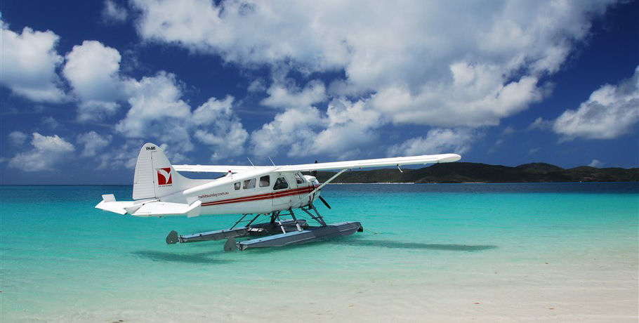 Seaplane Landing at Whitehaven Beach