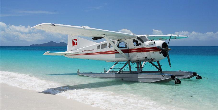 Seaplane at Whitehaven Beach