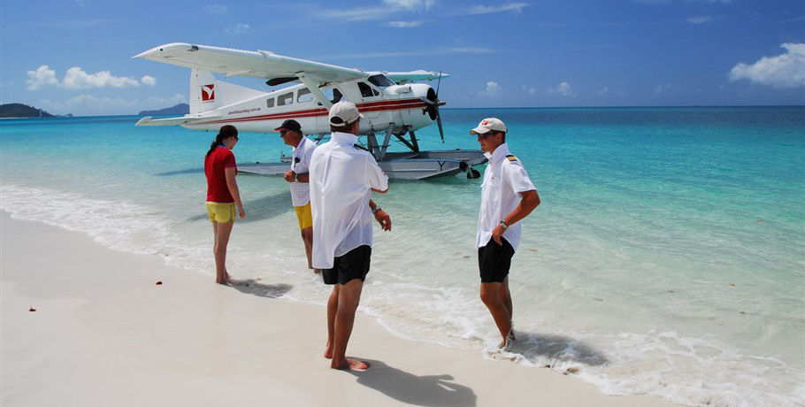 Seaplane at Whitehaven Beach with Group