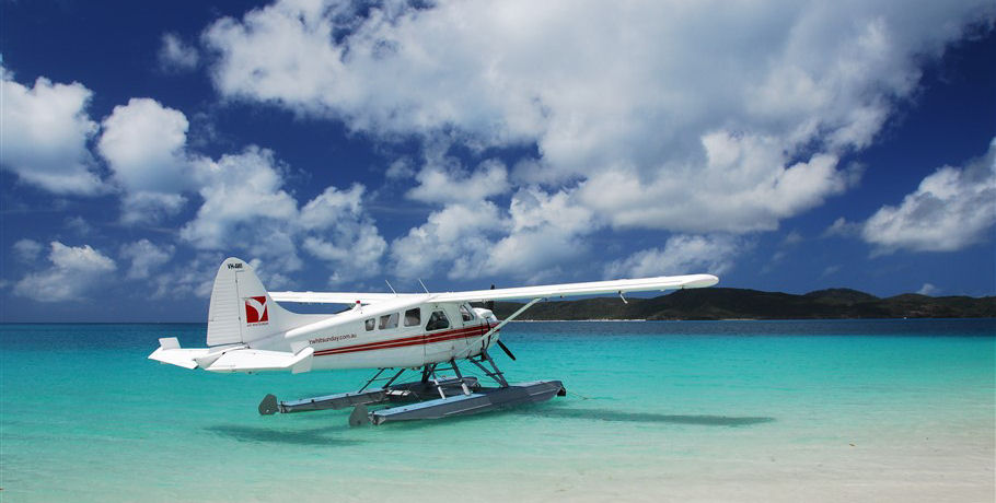 Seaplane on the water at Whitehaven Beach