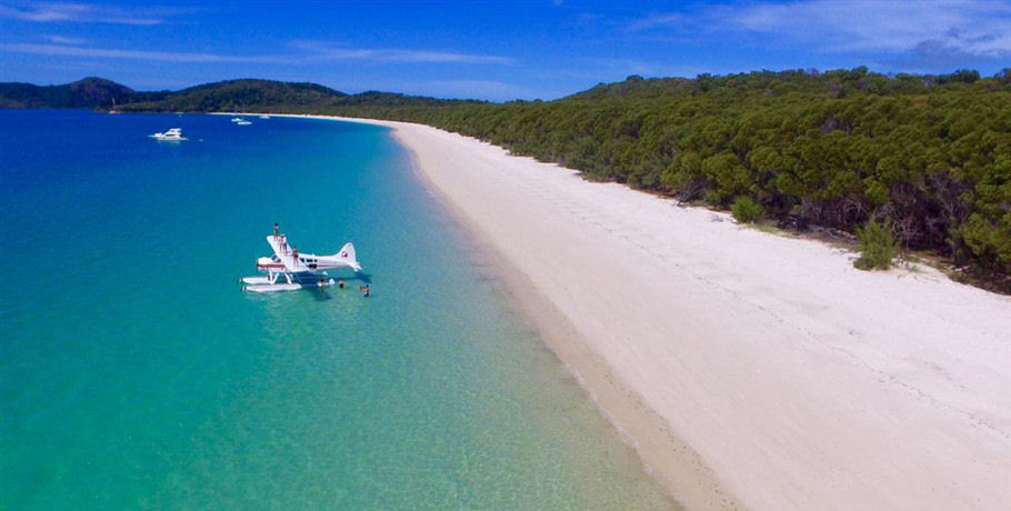 Seaplane at Whitehaven Beach Whitsunday Island