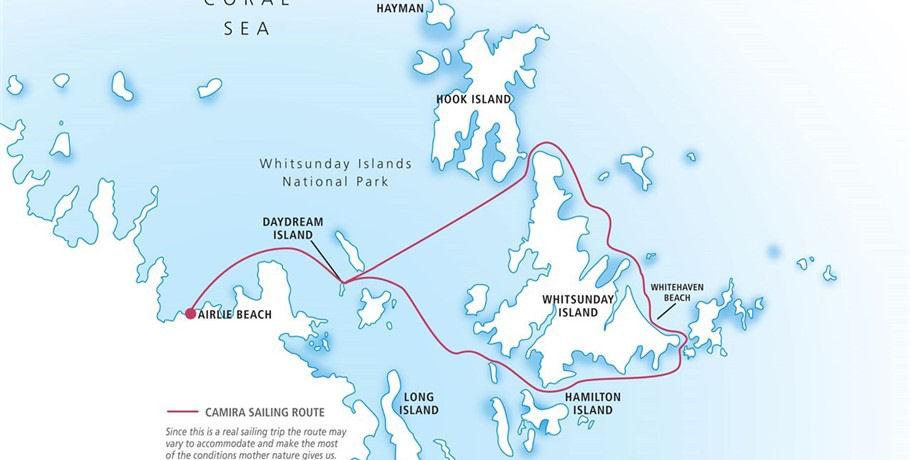 Itinerary of the Camira Whitsundays