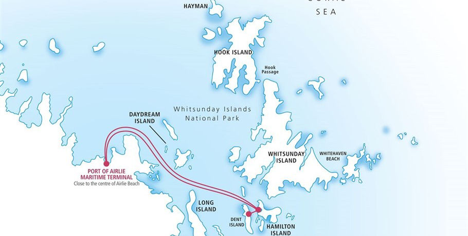 Travel Map to Hamilton Island